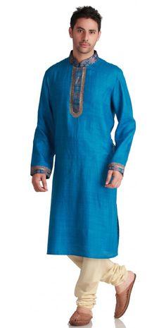 Turquoise Silk Kurta Kurta Men, Sherwani, Indian Ethnic Wear, Formal Wear, Cool Style, Tunic Tops, Turquoise, Kilts, Mens Fashion