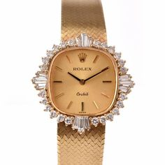Rolex Lady's Yellow Gold Diamond Orchid Wristwatch 4