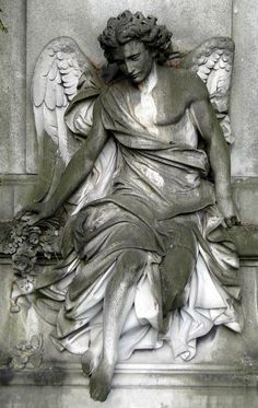 A kingdom of heaven is your eye, An angel every look; Oh heaven, take me in and let me be happy! O angel, draw me blessing into my open heart! Cemetery Angels, Cemetery Statues, Cemetery Art, Angels Among Us, Angels And Demons, Male Angels, I Believe In Angels, Ange Demon, Arte Obscura