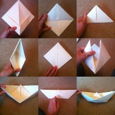 """21 papercraft ideas The boat Please go to """"The paper hat"""" first to see the first few steps and then continue with these to get your own little boat."""