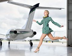 Tunic in black, green and white stripes, yellow stone and ribbon necklace, Marni, Miami; yellow python heels, Gucci | Palm Beach Illustrated
