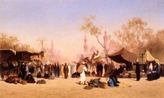 A Market Place in Cairo by Charles-Théodore Frère
