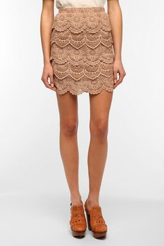 Staring at Stars Tiered Crochet Mini Skirt from Urban Outfitters. Saved to Pretty pretty pretty. Cute Skirts, Mini Skirts, Crochet Skirts, Crochet Lace, Leather And Lace, Passion For Fashion, Lace Skirt, What To Wear, Cute Outfits