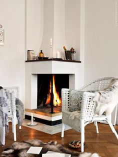 corner fireplace - looks a little square instead of rectangle but I like how modern the lines are