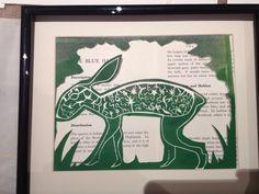 Green Hare Lino Prints, Hare, Habitats, Green, Bunny, Rabbit, Bunnies