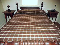 "19th c Old Farmhouse Homespun Wool Blanket Antique Center-Seam Blanket 80"" x 100"", Brown & White, Check & Herringbone Pattern    Sold  Ebay  395.00"