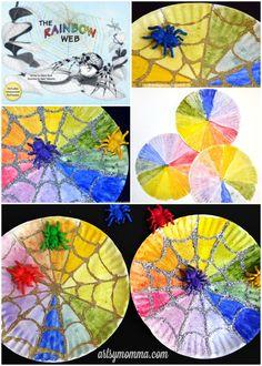 Spider Web Color Wheel Craft & The Rainbow Web Book Activities halloween Halloween Activities, Craft Activities, Halloween Crafts, Insect Activities, Homemade Halloween, Holiday Activities, Halloween Decorations, Paper Plate Crafts, Book Crafts