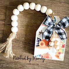 Wooden Door Signs, Wooden Doors, Wood Bead Garland, Beaded Garland, Handmade Signs, Fall Decorating, Beads, Crafts, Beading