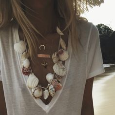 She sells seashells //  Crescent 16 inches  Pineapple Bar 18 inches  Shark Tooth 20 inches  James Michelle Jewelry