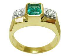 Contemporary men's emerald ring
