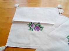 Natural linen rose embroidered pillow case set - natural fabric pillow cover - cream - decorative covers - throw pillows by crochets4world on Etsy