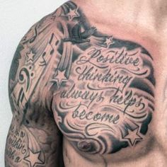 Star Tattoo on Sleeve and Chest