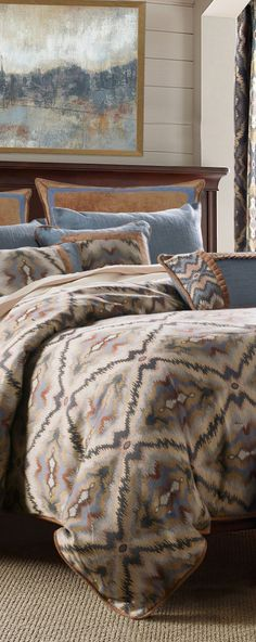 Shimmering shades of Sahara sands and evening desert skies of blue and gray make this a warm and inviting set. Beautiful geometric woven comforter in russet, blue and sand colors, with denim-blue linen pillow shams and accent pillows with toffee velvet trim. #rusticbedding #rusticbedrooms #loghomes #logcabins #rusticbedroomideas #modernrustic #rustic #lodge #southwesternbedding #southwesternbedroom Southwestern Bedroom, Southwestern Style, Rustic Quilts, Rustic Bedding, Western Bedding Sets, Modern Rustic Decor, Leather Pillow, Reclaimed Furniture, Lodge Style