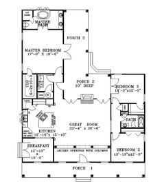Find your dream southern style house plan such as Plan which is a 2052 sq ft, 3 bed, 2 bath home with 2 garage stalls from Monster House Plans. House Plans And More, Dream House Plans, Small House Plans, House Floor Plans, My Dream Home, Dream Homes, Hill Country Homes, Barndominium Floor Plans, Southern House Plans