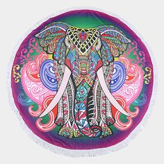 Take a look at this Pink & Purple Elephant Round Beach Towel today! Purple Elephant, Elephant Print, Mandala Elephant, Beach Towel, Beach Mat, Towel Crafts, Terry Towel, Beach Blanket, Pink Purple