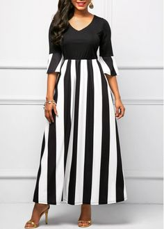 Striped Flare Sleeve V Neck Maxi Dress, free shipping worldwide at rosewe.com.