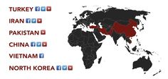These countries ban Twitter, Facebook, or Youtube.