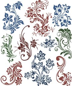 Floral swirls vector set 2