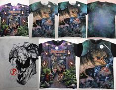 Jurassic Park Dinosaur Movie Front Only Sublimation Print T-Shirt Dinosaur Movie, Jurassic Park, T Rex, Graphic Tees, T Shirt, Movies, Painting, Ebay, Poster