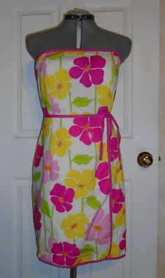 LILLY PULITZER Sweet Sally Strapless Pink Yellow Floral Print Dress Size 12 #LillyPulitzer #Casual