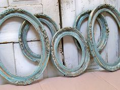 Vintage wood oval frame grouping sea green blue cottage distressed wall decor Anita Spero