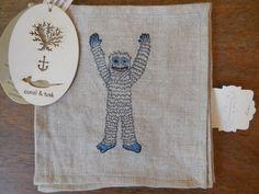 NEW Beige Linen Coral & Tusk cocktail napkins Embroidered Blue Monster $80 RARE #CoralTusk