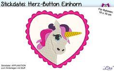 Stickmuster - Stickdatei Herz-Button Einhorn ♥ 10x10 Stickmuster - ein Designerstück von LStick-Stickdateien bei DaWanda