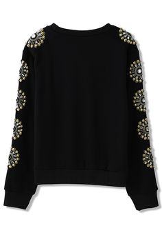 Floral Crystal Embellished Sleeves Sweat Top