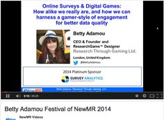 """My talk """"Digital Games and Online Surveys, How Alike We Really Are and How Researchers Can Harness Gamer-Style Engagement for Better Data Quality"""" presented at the Festival of NewMR, Dec 2014, is now available for download and to play online via NewMR! http://newmr.org/presentations/5786eda7/ Enjoy!   #newmr #mrx #research #marketresearch #GamesForResearch #Gamification #surveys"""