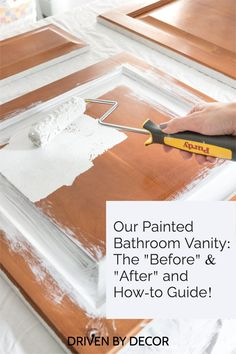 The step by step of how to paint your bathroom vanity or cabinets Basement Remodeling, Bathroom Renovations, Bedroom Bookcase, Paint Brushes And Rollers, Painting Station, Painting Bathroom Cabinets, Driven By Decor, Kitchen Reno, Ascot