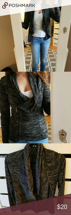 Zip up jacket Thin zip up jacket great with a pair of work pants or jeans on the weekends. Can be worn zippered or unzipped. Charcoal grey color size small. Fits true to size no marks, worn once (too small for me) . Make an offer! Candie's Jackets & Coats Blazers