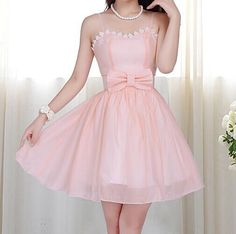 Slim sling sleeveless bowknot dress