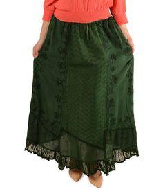 Look at this #zulilyfind! Green Petite Bohemian Embroidered Maxi Skirt - Women #zulilyfinds