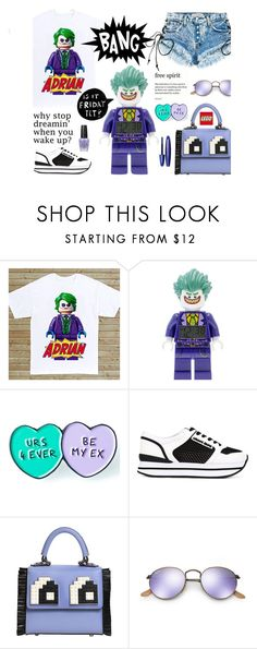 """""""Lego Joker"""" by neverboring ❤ liked on Polyvore featuring This Is a Love Song, COVERGIRL, Armani Jeans, Les Petits Joueurs, Ray-Ban, OPI, casualoutfit, women, polyvoreeditorial and lego"""