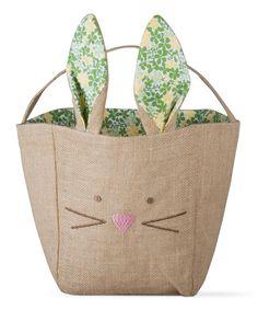 Look at this #zulilyfind! Burlap Bunny Basket #zulilyfinds