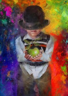 "Love this colorful painting ""Son of Magritte"" by Christopher Lane. A child's take on Rene' Magritte's Son of Man."
