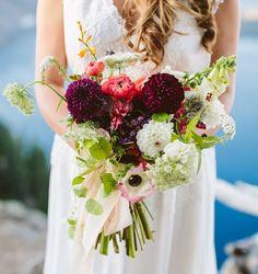 Berry colored bouquet with dahlias + ranunculus