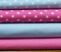 Stoffpaket Baumwolle pink-hellblau,