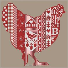 Point de croix à broder Poule rouge kit broderie de Points de Repère PDR-KIT-294