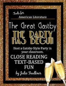 Faulkner's Fast Five: Host a Gatsby Party: End of Year Literary-Themed, Text-Based Classroom Parties Great Gatsby Party, The Great Gatsby, Tools For Teaching, Teaching Ideas, Creative Teaching, Ap 12, High School Reading, Fast Five, Teaching Literature