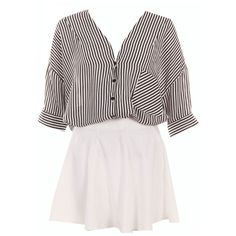 Two-piece Black Striped Puff Skirt Set ($29) ❤ liked on Polyvore featuring dresses and vestidos