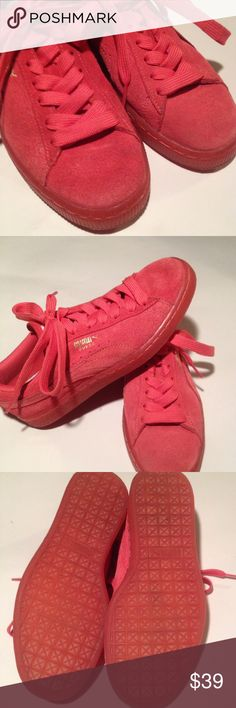 Puma Red Suede Sneakers So stylish.... Light red suede sneakers by Puma. There is some light discoloration on front as shown in picture one. Very light and hard to photograph but wanted to note it . Only worn a few times. Ask for more info if needed or pictures. Puma Shoes Sneakers
