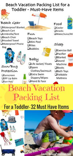 Beach Vacation Packing List for a Toddler-32 Must Have Items by From Under a Palm Tree