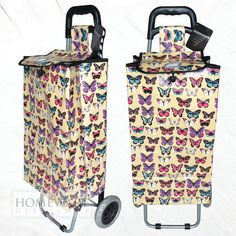 Cream butterfly shopping trolley http://homewaregiftshop.co.uk/shopping-trolley-bag.html