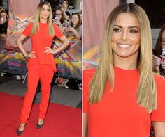 Cheryl Cole turns up the heat in red trousers and a matching red peplum top at the London X Factor auditions
