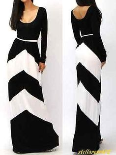 Plus Size Maxi Dress Long Sleeve Gown Black White Color Block 2x xxl Women New in Clothing, Shoes & Accessories   eBay