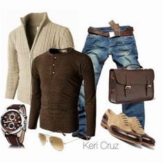 Men's fall outfit with layered brown on blue jeans Fashion Mode, Look Fashion, Winter Fashion, Fashion Outfits, Fashion Sets, Paris Fashion, Runway Fashion, Fashion Trends, Womens Fashion