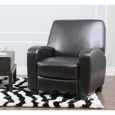 Abbyson Living Ventura Black Leather Recliner