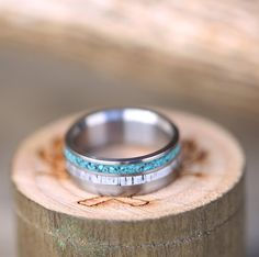Unique men's wedding band, handcrafted from turquoise & elk antler.