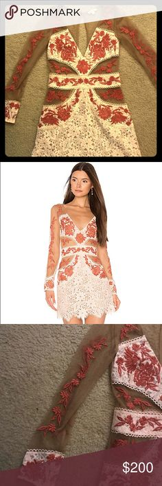 NWOT never worn For Love and Lemons Matador Dress Gorgeous dress with sheer mesh sleeves and side panels, complete with a dusty red embroidery to compliment the nude lace. Zip back closure with an open back and button closure at the top! FF&L runs small, I am between a 2-4 and took a medium in this dress. Purchased for a trip to Vegas and wasn't cool enough to wear it. For Love And Lemons Dresses Mini